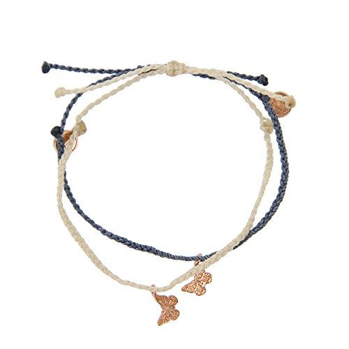 Butterfly Womens Snowboard (Pura Vida Bracelets Rose Gold Butterfly Charm in Vanilla and Columbia Blue 2 Bracelet Bundle Pack - 100% Waterproof)