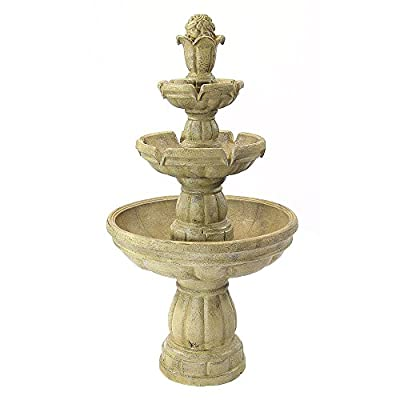 Sunnydaze Outdoor Water Fountain - Large 3-Tiered Fountain & Backyard Waterfall Feature for The Patio, Lawn, Garden - 48… - ATTRACTIVE CENTERPIECE FOR YOUR SPACE: Make a statement on your front porch, deck, balcony, or landscape with this large outdoor fountain; Measures 48 inches tall x 26 inch diameter and weighs 50 pounds, making it sturdy so it won't tip over outside; Recommended water capacity of 4 gallons DURABLE MATERIAL THAT'S BUILT TO LAST: The outdoor tier fountain is constructed from fiberglass material to ensure that it is long-lasting, while resembling the beauty of a stone garden fountain RELAX TO SOOTHING WATER SOUNDS: Sit back, relax, and enjoy the calming sounds the outdoor waterfall fountain creates as water gently trickles down the three tiers and recirculates back up - patio, outdoor-decor, fountains - 41hEyKA5beL. SS400  -