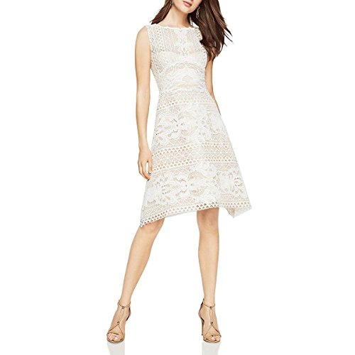 BCBG Max Azria Womens Kira Lace Knee-Length Cocktail Dress Ivory 8 (Bcbg Party Dress)