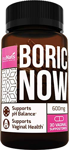 NuNats Boric Acid Vaginal Suppositories | 600mg, 30 Count | Yeast Infection Treatment | Restore Women's pH Balance & Prevents Against BV, Vaginitis & Bacterial Vaginosis Infections | Feminine Health