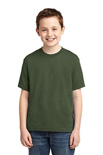 Jerzees Youth 5.6 Oz, 50/50 Heavyweight Blend T-Shirt, Small, Military Green (Heavyweight Jerzees Youth Blend)