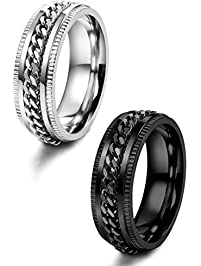 loyallook 2pcs stainless steel spinner wedding rings for men women biker chain rings 8mm wide size - Black Wedding Rings For Men