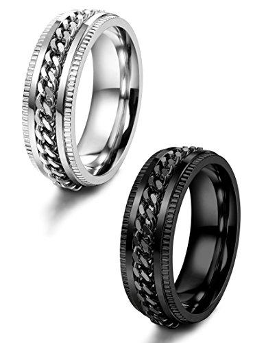 LOYALLOOK+2pcs+Stainless+Steel+Spinner+Wedding+Rings+for+Men+Women+Biker+Chain+Rings+8mm+Wide+Size+13
