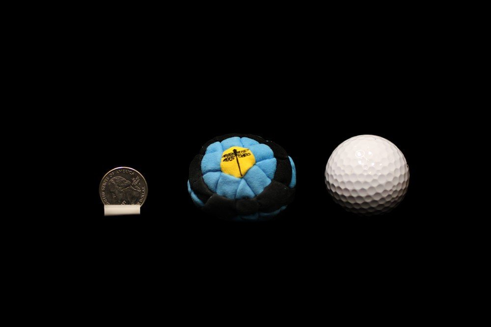 Dragonfly Footbags Blue, Black, Yellow Bullseye 62 Panel (Hacky Sack) by Dragonfly Footbags