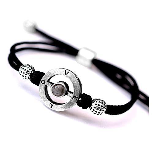 charm&accessories I Love You Bracelet,Love Promises Memory Bracelet in 100 Languages Saying I Love You Sterling Silver Rose Gold Couple Bracelet Adjustable, Rose Gold-B