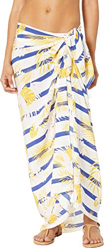 Resort Plush Blanket - Plush Women's Soft Lightweight Palm Beach Wrap Cover-Up Sarong with Tassels Navy, Pink/Marigold Floral Palm One Size