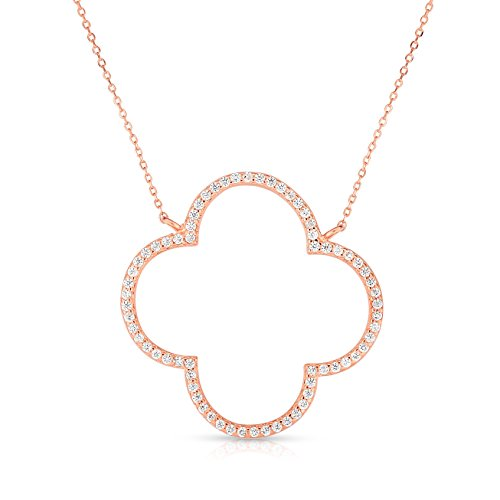 (Unique Royal Jewelry Sterling Silver Open Four Leaf Clover Cubic Zirconia Necklace with Adjustable Length. (14K Rose Gold Plated))
