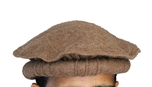 100% wool Handmade Chitrali Cap / Afghani Pakol / Hat from Pakistan  Afghanistan (Khaki)