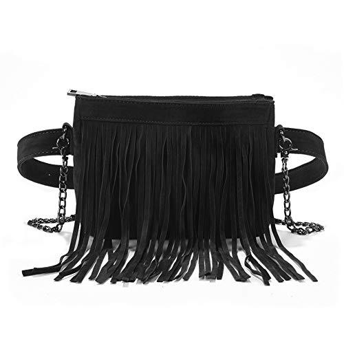 Fashion Fringe Tassel Fanny Pack Velvet Belt Crossbody Shoulder Bag Travel Purse for Women Black ()