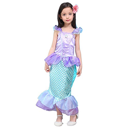 Newland Girl's Kids Little Mermaid Princess Party Dress Costume (130CM(7-8Y)-Size XL)