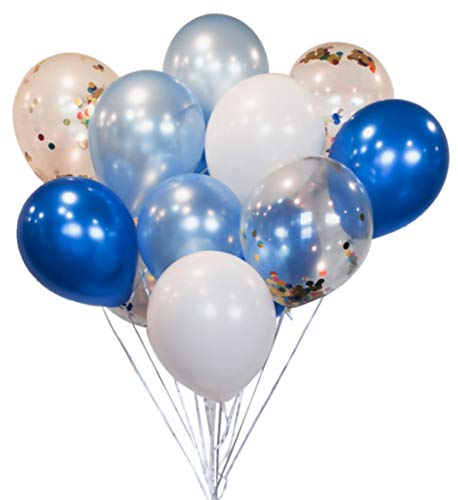 HomyBasic Confetti Balloons Blue Set 40 with 50M Ribbon,12 inch Party Balloon for Birthday, Baby Shower Boy, Parties Decoration, Supplies, Garland (Navy, Baby Blue, White, Clear Balloon with Confetti ()