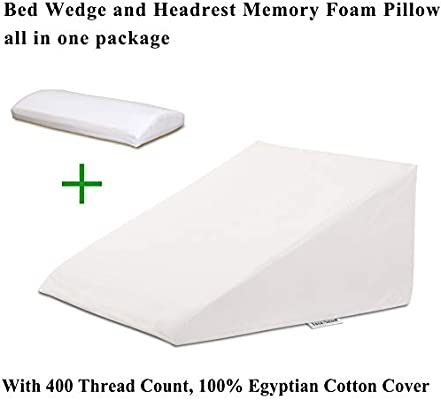 "33/"" x 30.5/"" x 12/"" with a 400 Thread... InteVision Extra Large Bed Wedge Pillow"