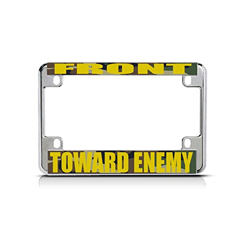 FRONT TOWARD ENEMY GOLD Chrome Metal Bike Motorcycle License Plate Frame Tag