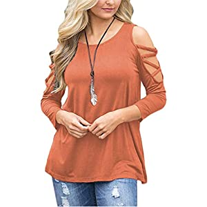 LUOUSE Women's Hollowed Out Shoulder 3/4 Long Sleeve Casual Tunic Blouse Loose T-Shirts Tops Orange