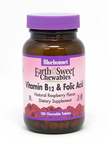 Bluebonnet Earth Sweet Vitamin B-12 And Folic Acid Chewable Tablets, Raspberry, 180 Count