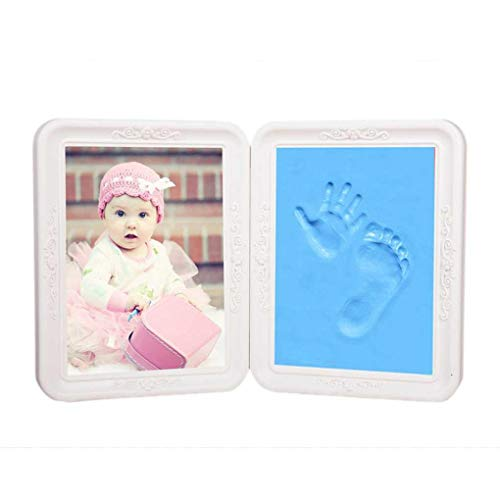 Newborn Baby Foot Prints Photo Frames Touch Clay Picture Keepsake Kit Gift - Photography & Camera Acc Camera Accessories - (Blue) - 1 x Photo Frame, 2 x Inkpad -