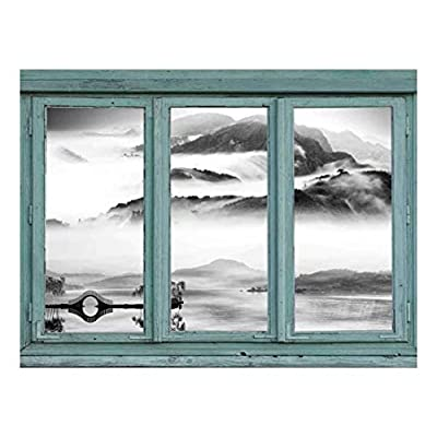 Vintage Teal Window Looking Out Into a Black and White Lake with a Mountain View - Wall Mural, Removable Sticker, Home Decor - 24x32 inches