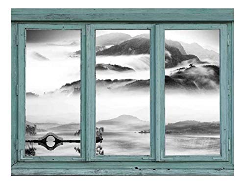 Vintage Teal Window Looking Out Into a Black and White Lake with a Mountain View Wall Mural