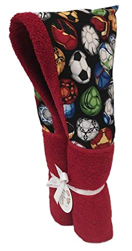 """Soccer Fun Red Hooded Towels ✱ Age 0-10 Years ✱ Infant, Toddler, and Big Kids ✱ Bath, Pool, Beach Towel ✱ Extra Large Size 30x54"""" ✱ Soft Plush Absorbent ✱ Handmade in USA by Kid Kovers"""