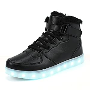 AFFINEST High Top LED Light up Shoes Flashing Fashion Sneakers Fur Lining Winter Warm Ankle Boots for Kids(Black,38)