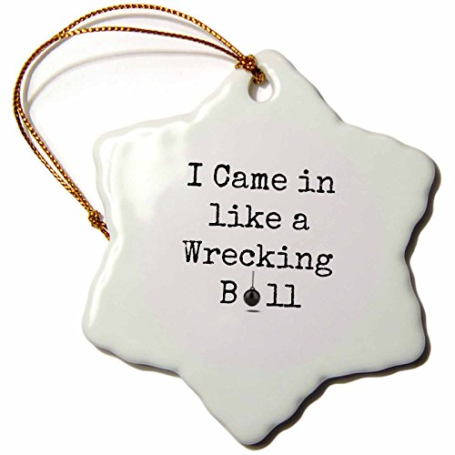 3dRose orn_200658_1 I Camein Like a Wrecking Ball Black Letters with Picture of Ball Snowflake Ornament, Porcelain, 3-Inch (Miley Song Christmas Cyrus)
