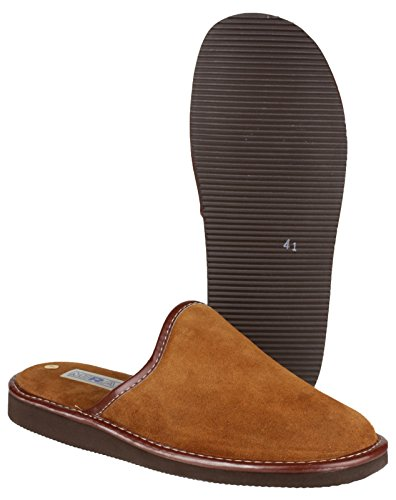 Mirak Mens Reg Suede Leather Textile Lined Mule Slipper Brown Hellbraun
