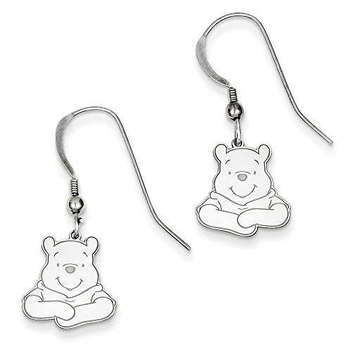 Sterling Silver Disney Winnie The Pooh Dangle Wire Earrings 30x12 mm