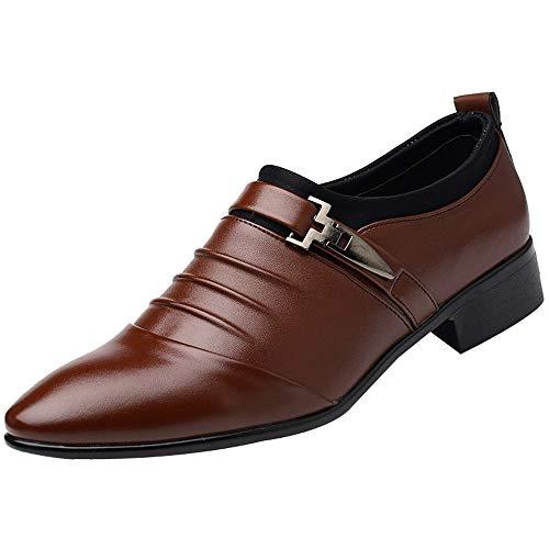Corriee Gift Idea Mens Dress Shoes Formal Pointed Toe Slip On Business Shoes Men's Leather Shoes Brown