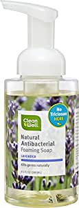 CleanWell Natural Antibacterial Foaming Hand Soap - Lavender, 9.5 Ounce (Pack of 4)