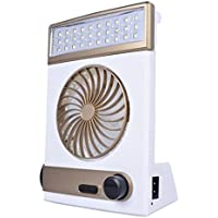 Solar Power Fan, Inkach Multi-function Mini Rechargeable Fan Cooling with LED Light Table Lamp Flashlight (Gold)