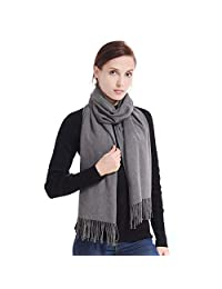 LERDU Ladies Cashmere Pashmina Scarf Wool Wrap Shawl Winter Stole for Women Grey
