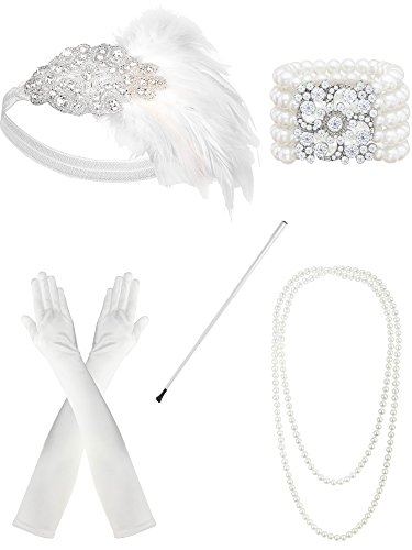 Zivyes 1920s Flapper Accessories Feather Headband Pearl Necklace White Gloves Bracelet]()
