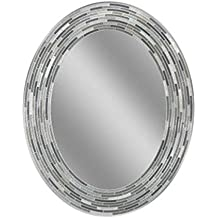 """Headwest Reeded Charcoal Oval Tiles Wall Mirror, 23"""" x 29"""""""