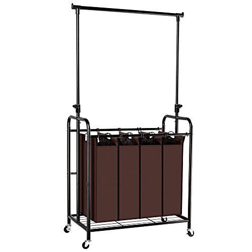Bonnlo Mobile 4-Bag Laundry Sorter Cart with Adjustable Hanging Bar, Heavy-Duty Wheels with Large (Heavy Duty Mobile Garment Rack)