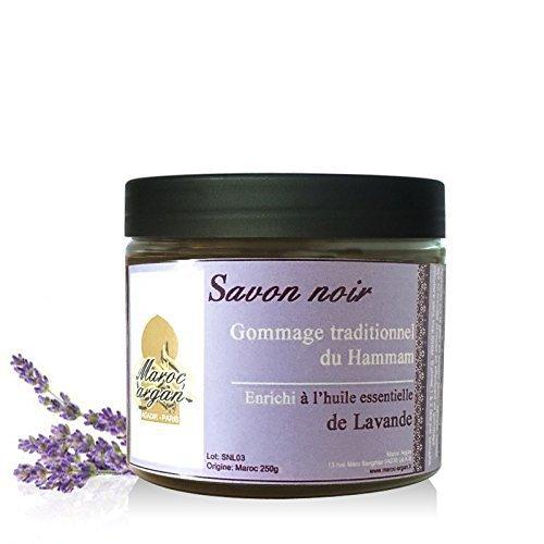 Gommage au Savon Noir à l'huile essentielle de Lavande 100% Naturel - Exfoliant pour une peau douce et apaisée - 250g Maroc Argan