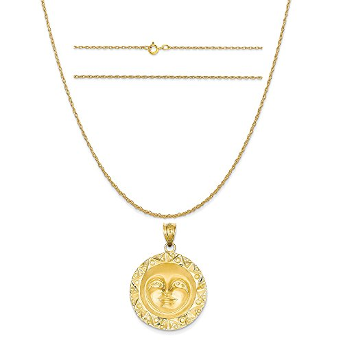 14k Yellow Gold Sun Charm on a 14K Yellow Gold Carded Rope Chain Necklace, 20