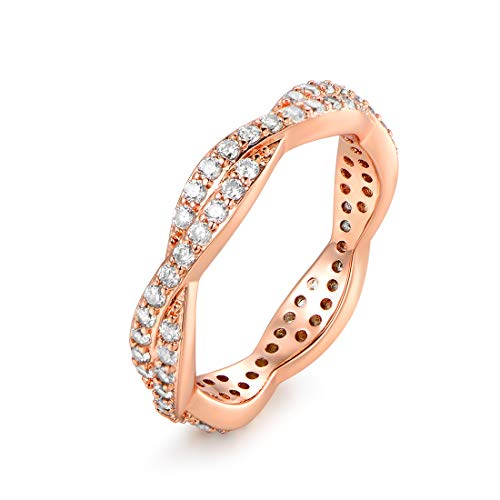 Barzel 18k Gold Plated, White Gold Plated & Rose Gold Plated Twisted Cubic Zirconia Eternity Ring Band (Rose Gold, 8)