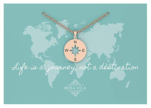 Rosa Vila Inspirational Compass Necklace, Friendship Compass Necklace for Women, I'd Be Lost Without You Friendship Necklace, Compass Jewelry (Rose Gold Tone)