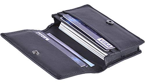 RFID Mens Slim Front Pocket Wallet Genuine Leather Bifold ID/Credit Card Holder (B Black)