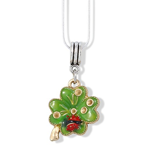 Green Pendant Ladybug (EPJ Four Leaf Clover Green with Ladybug and Gold Coloured Water Drops Charm Snake Chain Necklace)