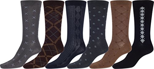 Sakkas 159 Mens Cotton Blend Ribbed Dress Socks Value 6-Pack - 10-13