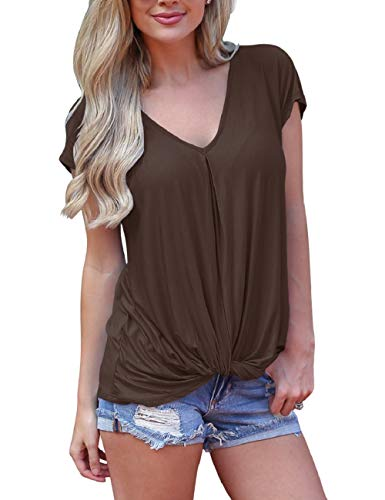 (SMALNNIE Womens T Shirts Plain Summer Knotted Short Sleeve Loose Fit Tops Blouse Juniors Twist Wine Red M)