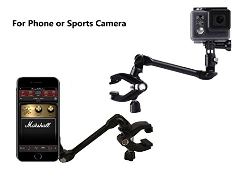 OCTO MOUNTS - MAGNETIC 360-degree Adjustable Desktop or Guitar Mic Bass Drum Keyboard Music Stand Mount for Smartphone or GoPro. Compatible with iPhone, Samsung, Android, HTC, and Action Cameras.