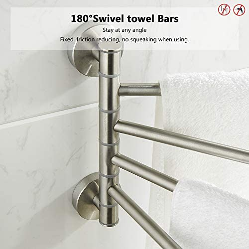 BGL Swivel Towel Rails, 304 Stainless Steel Swivel Towel Holder, Wall Mounted Towel Holder Organizer with 4-Arms, Brushed Nickel Finish