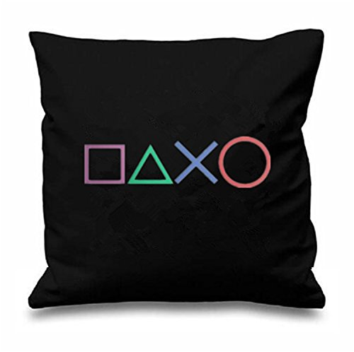 Price comparison product image Black Art Design Playstation Buttons Throw Pillow Case Novelty Gaming Decorative Cushion Cover Cool Game Gamer Gifts Home Decor