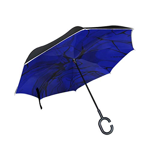 (RYUIFI Double Layer Inverted Blue Abstract Structure Umbrellas Reverse Folding Umbrella Windproof Uv Protection Big Straight Umbrella for Car Rain Outdoor with C-Shaped Handle)