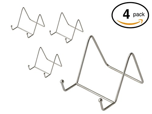 Pack of 4 Nickel Plate Stands Decorative Counter Top Displays for Kitchenware - 3 x 3 Inches - By Bovado USA ()