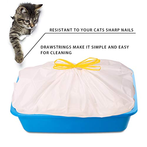 Cat Litter Box Liners with Drawstring Bag Heavy Duty Jumbo-Super Strong and Thick for Cats - 1 Pack (5 Liners)