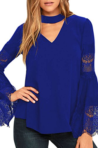 Selowin Ladies Sexy Button Back Flare Lace Trim Sleeve V Neck Choker Solid Blouse Top Sapphire S