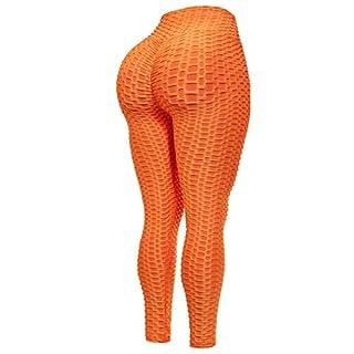 Beyondfab Women's High Waist Textured Butt Lifting Slimming Workout Leggings Tights Neon Orange 1XL2XL